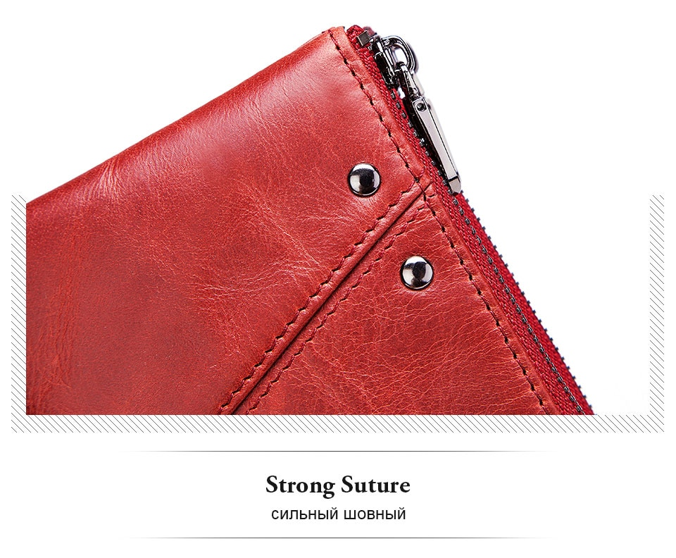 Double Zipper Genuine Leather Slim Wallet with RFID Blocking MT0017