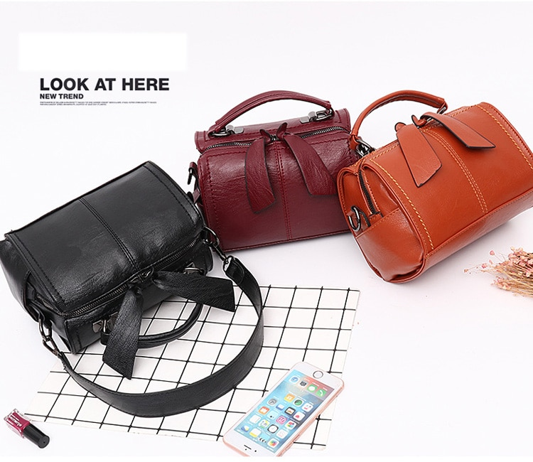 Elegant Boston Handbag Soft Leather Crossbody Bag MT0025
