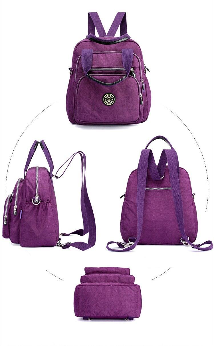 Convertible Waterproof Nylon Backpack Shoulder Bag with Side Pockets MT0055